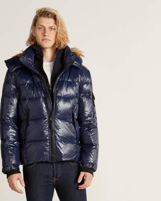 S13 Glossy Faux Fur-Trimmed Down Coat