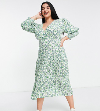 Never Fully Dressed Plus puff sleeve pleated midaxi dress in green geo print