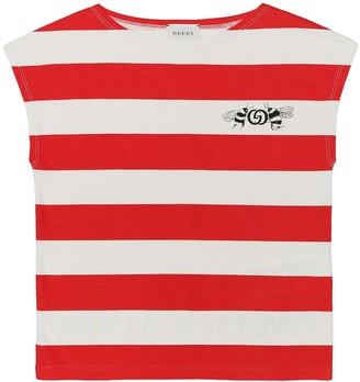 Gucci Kids Logo striped cotton T-shirt