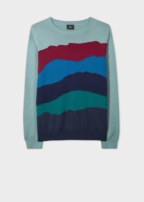 Paul Smith Men's Teal Sunset Stripe Cotton-Blend Sweater