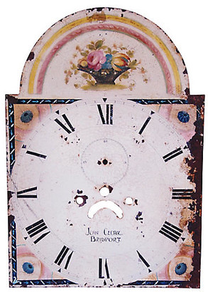 One Kings Lane Vintage Antique Hand-Painted Floral Clock Face