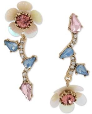 Betsey Johnson Gold-Tone Crystal Flower Mismatch Drop Earrings