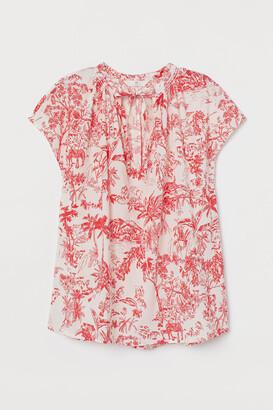 H&M Tie-collar Cotton Blouse