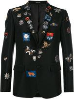 Alexander McQueen badge appliqué blazer - men - Cotton/Polyester/Silk/Viscose - 48