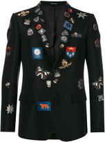Alexander McQueen badge appliqué blazer - men - Silk/Cotton/Polyester/Viscose - 48