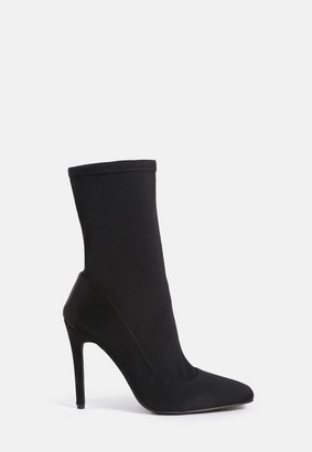 Missguided Black Square Toe Stiletto Heel Sock Boots