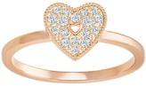 Swarovski Field Folded Heart Ring, White