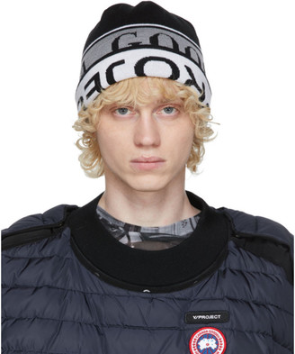Y/Project Reversible Black and White Canada Goose Edition Wool Beanie