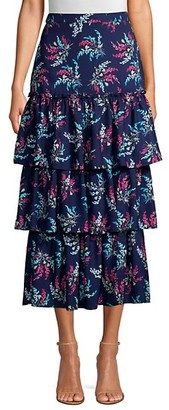 LIKELY Sevilla Ruffled Floral Print Midi Skirt