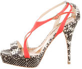 Oscar de la Renta Snakeskin Ankle Strap Sandals