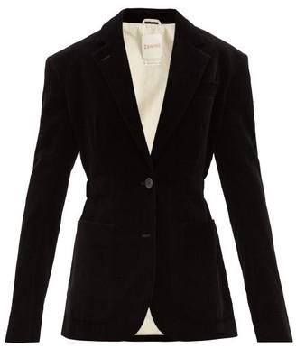Zanini - Bow-embellished Single-breasted Velvet Blazer - Black