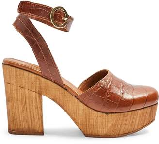 Topshop Gabby Croc-Embossed Leather Closed-Toe Clogs