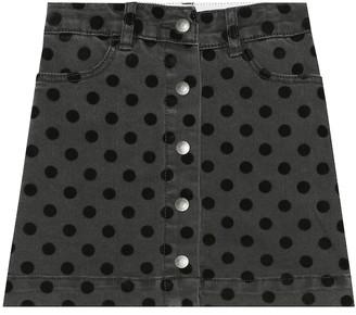 Stella McCartney Flocked polka-dot denim skirt