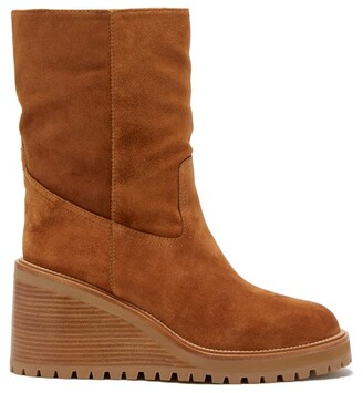 Jimmy Choo Yola 80 Shearling-lined Suede Boots - Tan