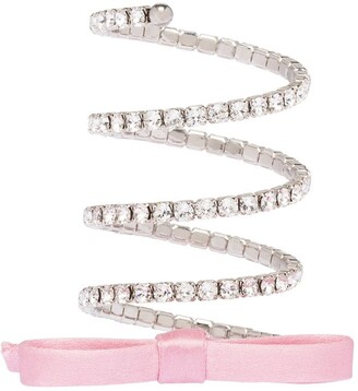 Miu Miu Wrap-Around Crystal Bow-Detail Bracelet