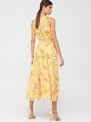 Ted Baker Cabana Printed Tiered Midi Dress - Yellow
