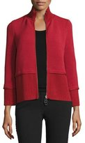 Giorgio Armani Mixed-Ribbed Knit Zip Jacket, Red