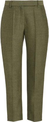 Brandon Maxwell Classic Straight-Leg Wool Cropped Pants