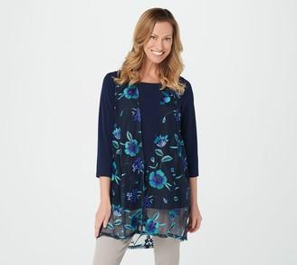 Susan Graver GRAVER Embroidered Mesh Vest & Liquid Knit Top
