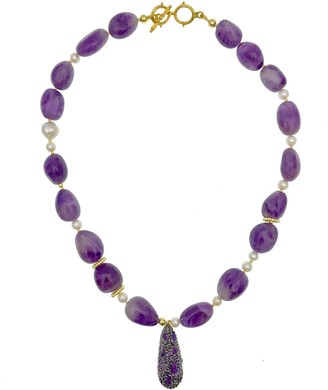 Farra Amethyst With Rhinestone Pendant Necklace