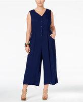 Melissa McCarthy Trendy Plus Size Sleeveless Wide-Leg Jumpsuit