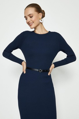 Coast Knitted Rib Dress With Skinny Belt