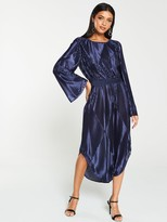 Very Metallic Pleated Midi Dress - Navy