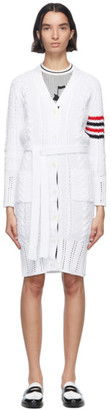 Thom Browne White Aran Cable 4-Bar Long Cardigan