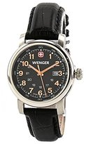 Wenger Urban Classic Womens Black Sunray Textured Dial, Black Leather Strap
