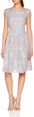 Little Mistress Women's Ditsy Floral Embroidered Mesh Dress Party