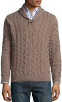 Neiman Marcus Cable-Knit Cashmere Pullover Sweater, Tan