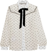 Miu Miu Ruffled Printed Silk-chiffon Blouse - White