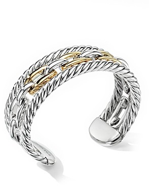 David Yurman Wellesley Link Multi Stack Bracelet in Sterling Silver with 18K Yellow Gold
