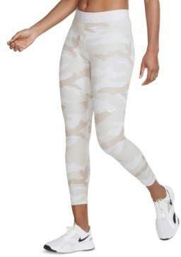 Nike Women's Pro Dri-fit Camo-Print Cropped Leggings