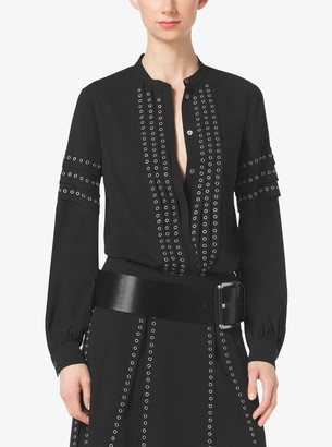 Michael Kors Grommet-Embroidered Georgette Blouse