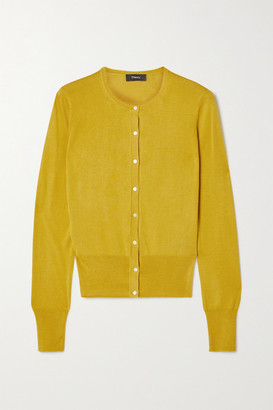 Theory Silk And Cotton-blend Cardigan - Marigold