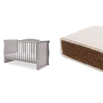 O Baby Obaby Ingham Sleigh Cot Bed and Natural Coir Mattress - Warm Grey