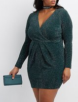 Charlotte Russe Plus Size Shimmer Surplice Bodycon Dress