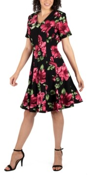 Robbie Bee Petite Floral-Print Fit & Flare Dress