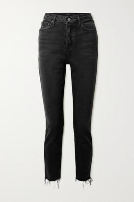 GRLFRND Karolina Frayed High-rise Skinny Jeans - Black