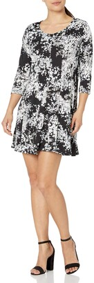 NY Collection Women's Petite Size Printed 3/4 Sleeve Fit and Flare Dress