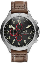 Armani Exchange AX1755 Stainless Steel Brown Leather Strap Watch