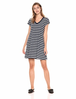 Daily Ritual Amazon Brand Women's Lightweight Lived-In Cotton V-Neck Short Sleeve Dress