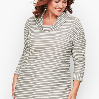 Talbots Reverse Terry Stripe Cowl-Neck Top