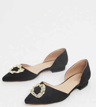 Raid Wide Fit Andi two part flat shoes with gold trim