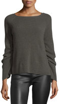 Helmut Lang Ribbed Ruched-Sleeve Sweater, Flint