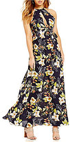 Lucy Paris Floral Print Halter Peplum Maxi Dress