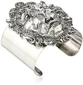 Yochi Lion Head Silver Plated Cuff Bracelet