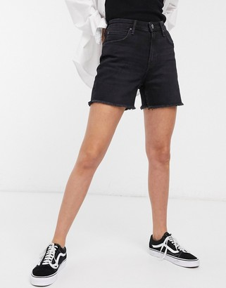 Lee Jeans Lee high-rise denim mom shorts with raw hem in worn black
