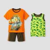 Little Rebels Toddler Boys' Team T-Rex 3 piece Top And Bottom Set - Orange